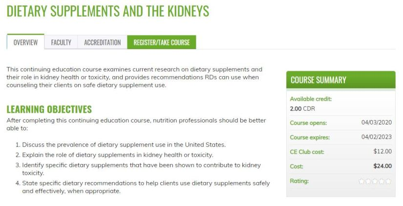 Dietary Supplements course